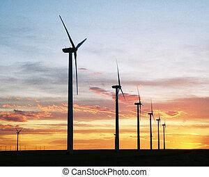 Wind generators at sunset in SE Colorado