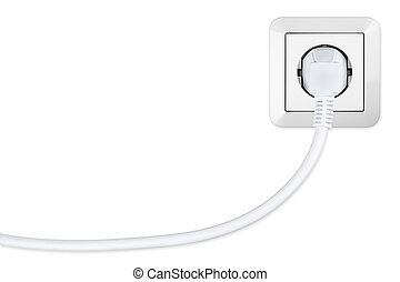 energy suply - isolated european power socket with plug