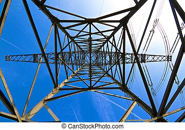 energy supply - In the center of power poles photographed...