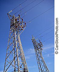 Energy Supply - Electricity lines from a power station