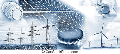 Energy supply with electricity and gas - Electricity pylons,...