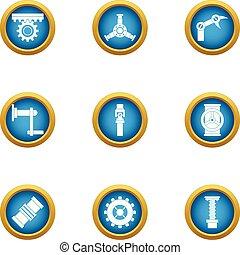 Energy transfer icons set, flat style