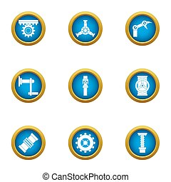 Energy transfer icons set, flat style - Energy transfer...
