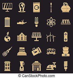 Energy transfer icons set, simple style - Energy transfer...