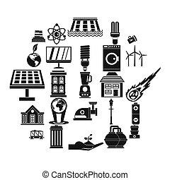 Energy transfer icons set, simple style - Energy transfer...