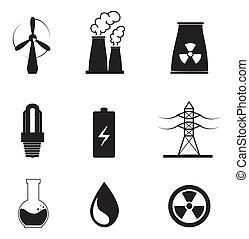 energy types over white background vector illustration