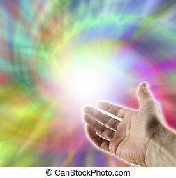 Energy vortex healer - Open hand reaching up into ...