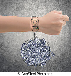 energy waste - Smart watch concept of energy waste.