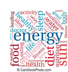 Energy word cloud on a white background.