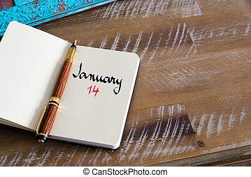 enero, 14, calendario, día, manuscrito, en, cuaderno