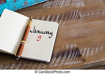 enero, 9, calendario, día, manuscrito, en, cuaderno