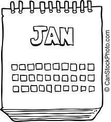 enero, actuación, mes, negro, blanco, calendario, caricatura