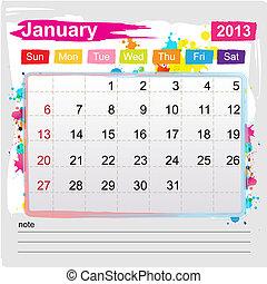 enero, calendario, 2013