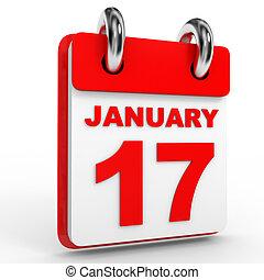 enero, calendario, blanco, 17, fondo.