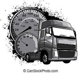 enfärgad, konst, design, tecknad film, halv-, vektor, lastbil, illustration