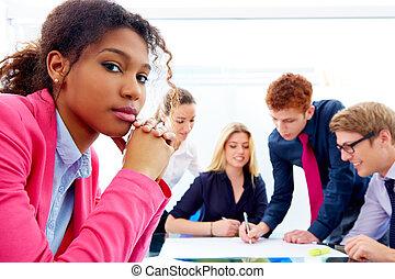 enfadonho, reunião, africano, executiva, gesto