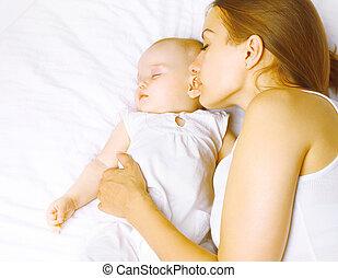 enfance, lit, maternité, harmonie, maman, bébé, co, dormir
