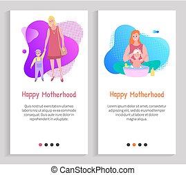 enfance, soucier, maternité, mère, vecteur, diapo