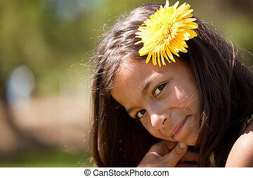 enfant, à, a, fleur, dans, tête