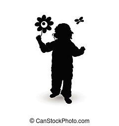 enfant, à, fleur, illustration