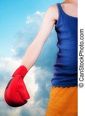 enfant, à, gant boxe