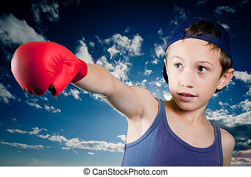 enfant, à, gants boxe