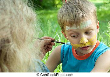 enfant, à, sien, figure, être, peint