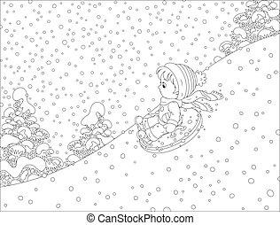 enfant, à, une, gonflable, neige, tube