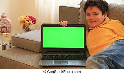 enfant, écran, moniteur, ordinateur portable, vert