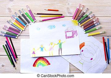enfant, était, drew, anniversaire, enfant, carte, heureux, dessin, pencils., marqueurs, fait, sien, family., utilisation, coloré