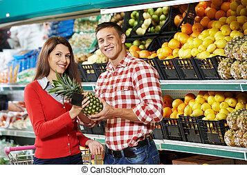 enfant, achats, famille, fruits