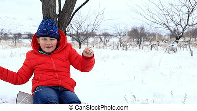 enfant, apprécier, vacances hiver