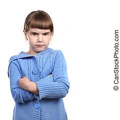 enfant, armes traversés, provocant, jeune