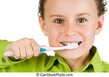 enfant, brossant dents