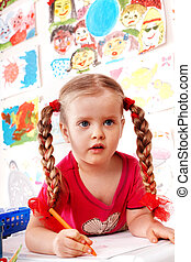 enfant, brush., peinture