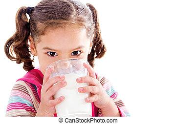 enfant, buvant lait