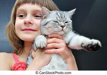 enfant, chat