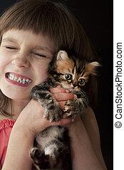 enfant, chaton
