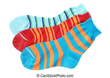 enfant, chaussettes rayées