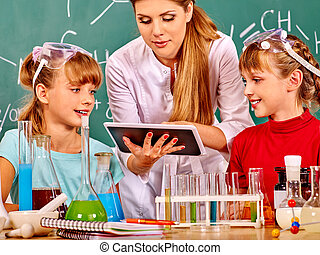 enfant, class., chimie