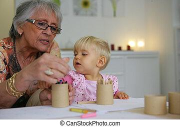 enfant, coloration, jeune, grand-maman