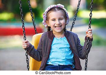 enfant, cour de récréation, jouer