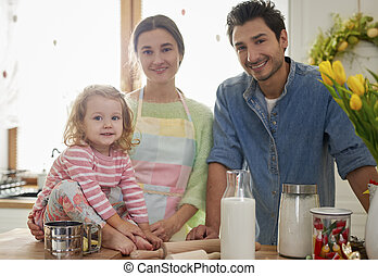 enfant, cuisine, portrait, famille