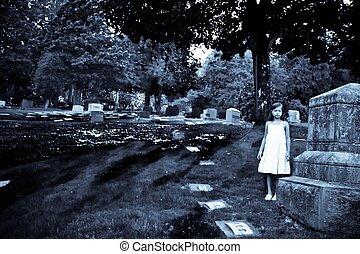 enfant, dans, cimetière