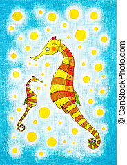 enfant, dessin, aquarelle, papier, peinture,  seahorses