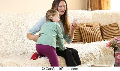 enfant, divan, mère
