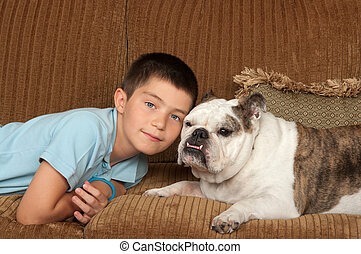 enfant, et, chien