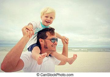 enfant, et, père, heureux, à, plage