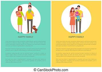 enfant, famille, couple, temps, ensemble, dépenser, heureux