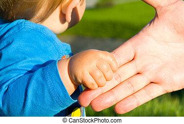 enfant, fils, père, mains